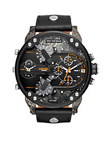 Mr. Daddy 2.0 Black IP and Black Leather Chronograph Watch