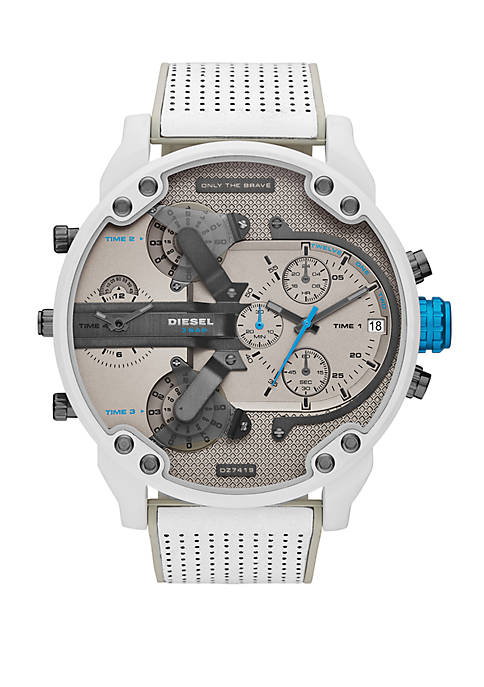 Mr. Daddy 2.0 Chronograph White and Gray Leather Watch