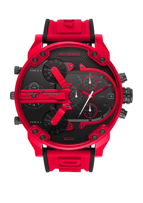 Diesel Mens Mr. Daddy 2.0 Red Silicone Watch