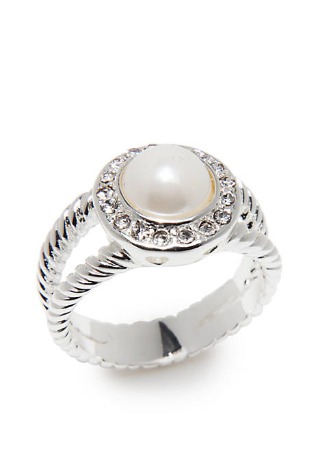 Kim Rogers® Silver-Tone Pearl Crystal Boxed Ring