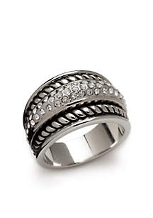 Silver Tone Antique Twist Ring