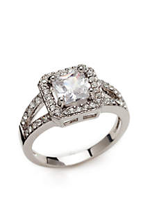 Silver-Tone Cubic Zirconia Crystal Square Stone Pave Ring