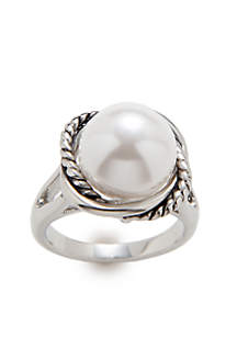 Boxed Rope Pearl Ring