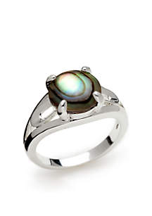 Silver-Tone Round Stone Abalone Ring
