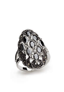 Silver-Tone Cluster Statement Ring