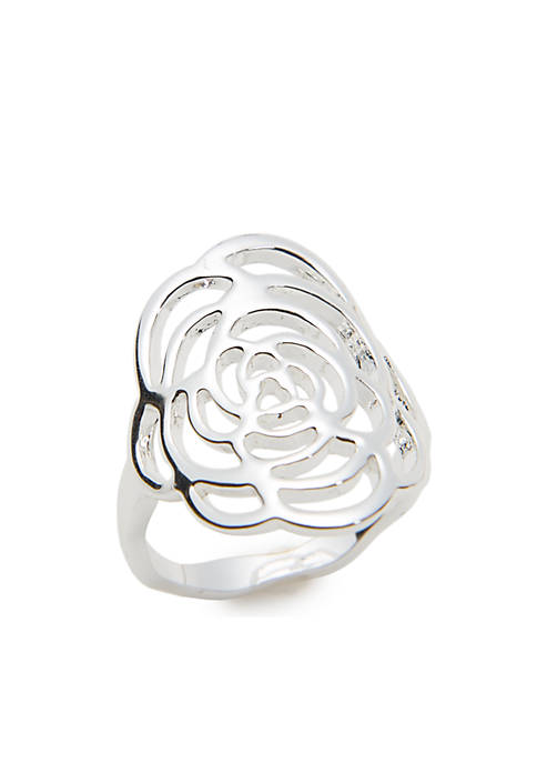 Kim Rogers® Silver-Tone Floral Ring