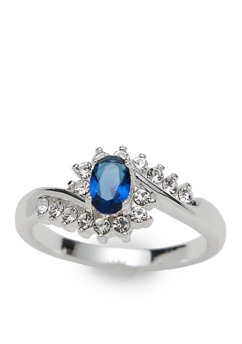 Silver-Tone Oval Swirl Ring