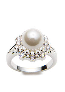 Silver-Tone Flower Pearl Cubic Zirconia Boxed Ring