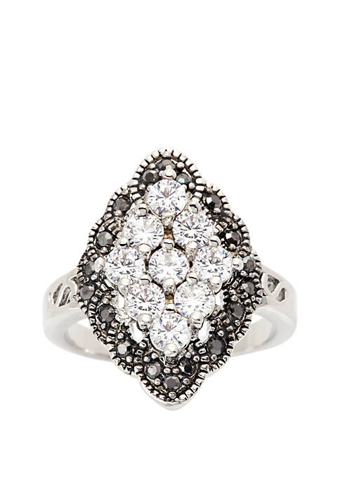 Silver-Tone Cubic Zirconia Cluster Ring