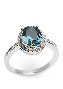 Boxed Silver-Tone Oval Halo Crystal Ring