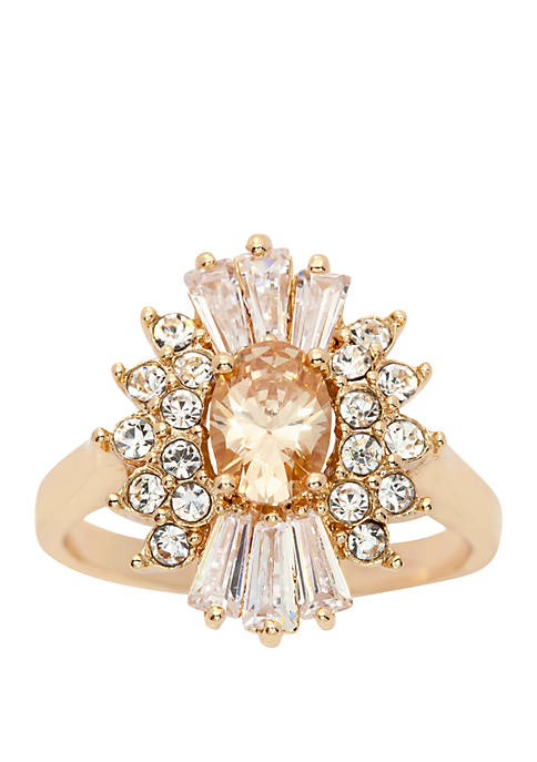 Gold-Tone Cubic Zirconia Oval Starburst Ring
