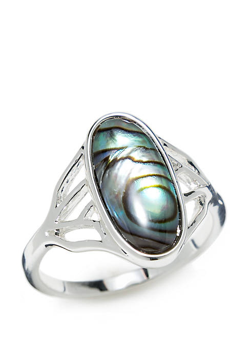 Silver-Tone Oblong Genuine Stone Ring