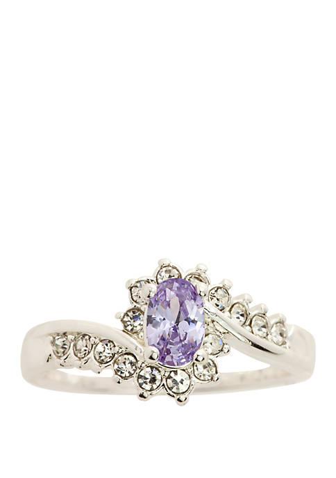 Kim Rogers® Silver Tone Crystal Oval Swirl Alexandrite