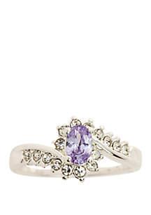 Kim Rogers® Silver Tone Crystal Oval Swirl Alexandrite Ring