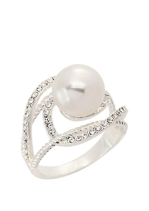 Kim Rogers® Silver Tone Pearl Crystal Openwork Ring