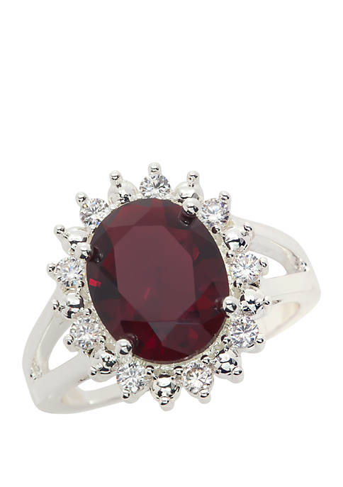 Cubic Zirconia Crystal Oval Stone Paved Open Ring