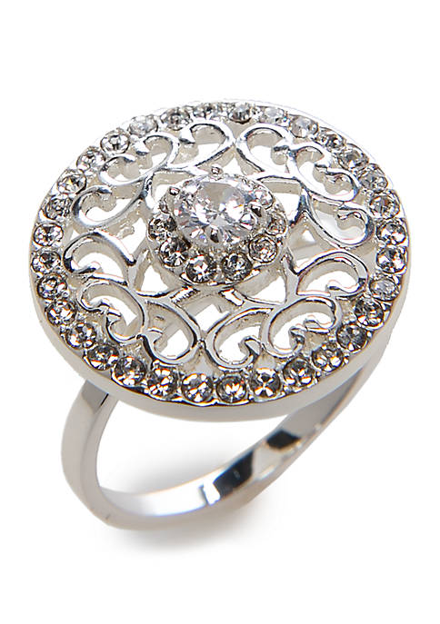 Silver Tone Filigree Cubic Zirconia Ring