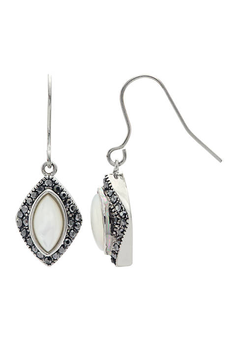 Silver-Tone Oval Stone Pave Earrings