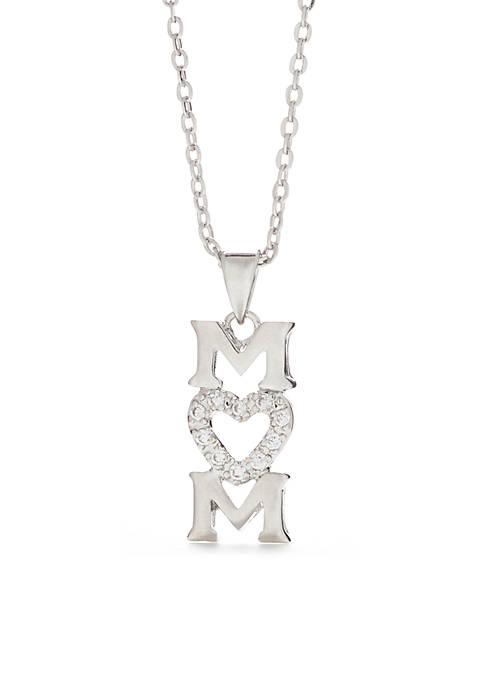 Silver-Tone Cubic Zirconia Mom Heart Pendant Necklace