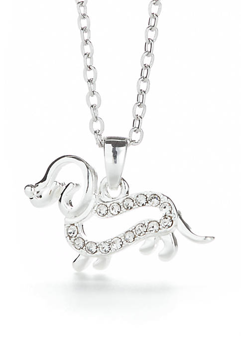 Kim Rogers® Pave Dog Crystal Pendant Necklace