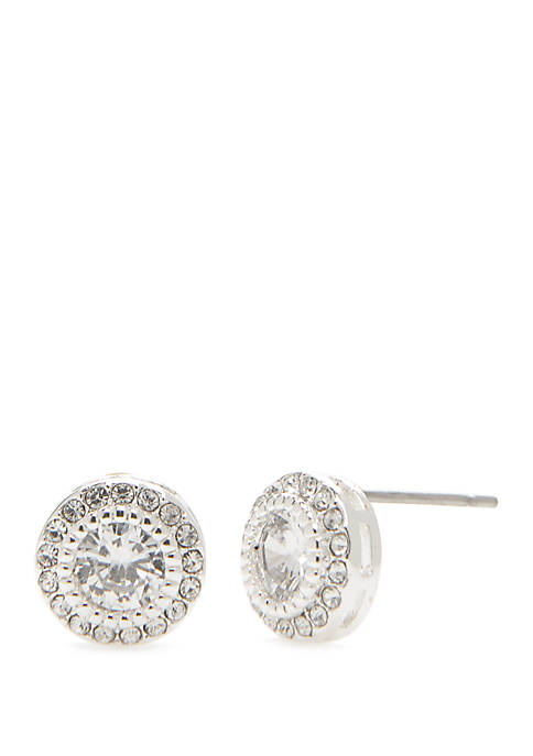 Silver Tone Round Cubic Zirconia Crystal Stud Earrings