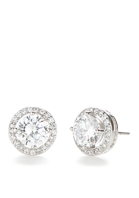 Cubic Zirconia Round Halo Pave Stone Earrings