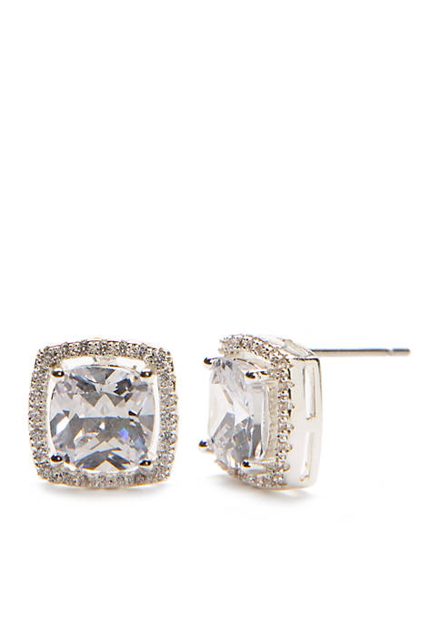 Kim Rogers® Silver-Tone Cubic Zirconia Cushion Cut Pave