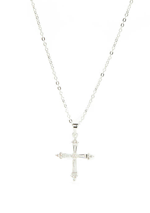 Kim Rogers® Silver Tone And Cubic Zirconia Cross