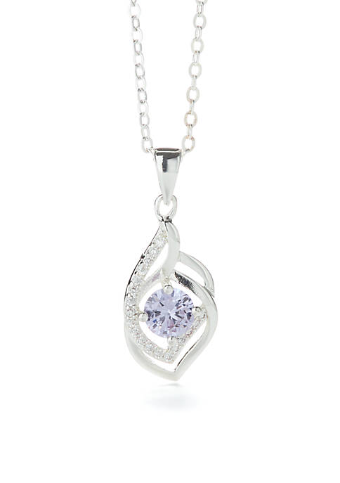 Kim Rogers® Round Silver Cubic Zirconia Pave Pear