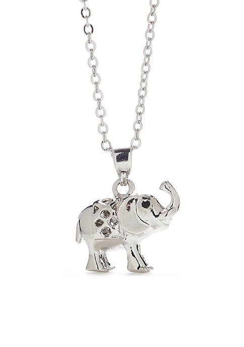 SIlver Tone Pave Elephant Pendant Necklace