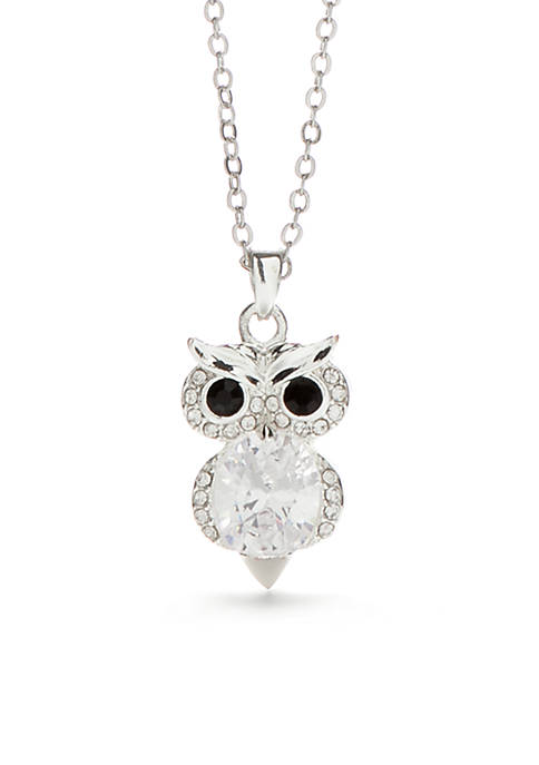 Silver-Tone Owl Pendant Necklace