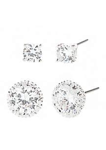 Kim Rogers® Round Cubic Zirconia Duo Earrings