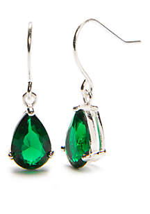 Silver-Tone Emerald Crystal Pear Fishhook Earrings
