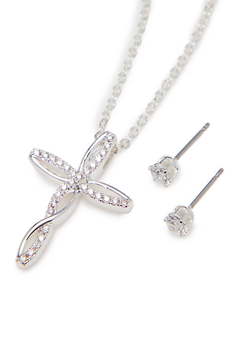 Kim Rogers® Silver-Tone Cross Necklace Cubic Zirconia Earrings