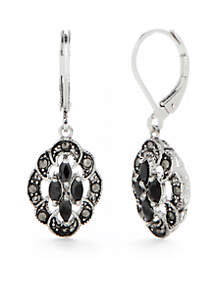 Silver-Tone Cubic Zirconia Drop Earrings
