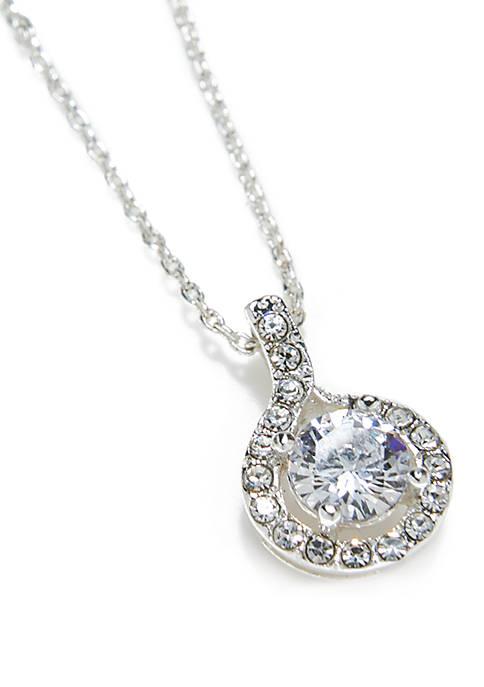 Silver-Tone Round Cubic Zirconia Necklace