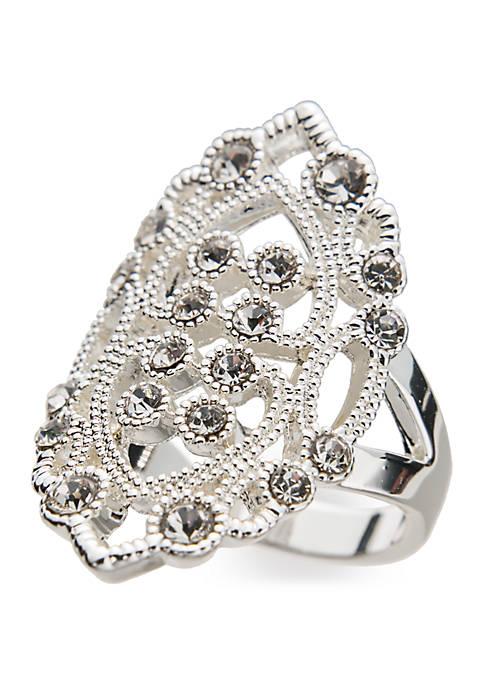 Belk Silver-Tone Crystal Filigree Ring