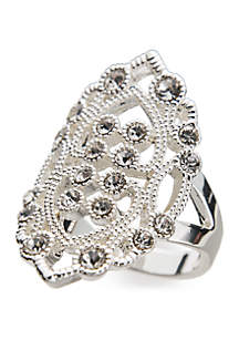 Silver-Tone Crystal Filigree Ring