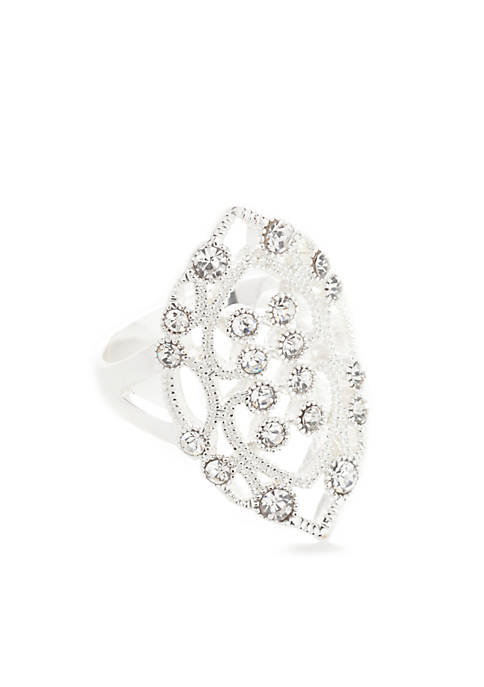 Kim Rogers® Silver-Tone Crystal Filigree Ring
