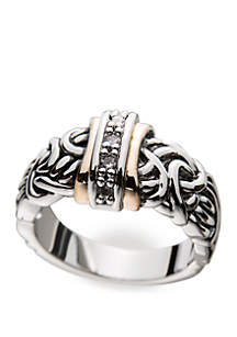 Antiqued Cubic Zirconia Band Ring