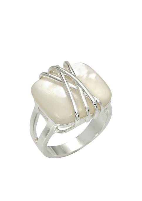 Silver-Tone Wrap Stone Ring