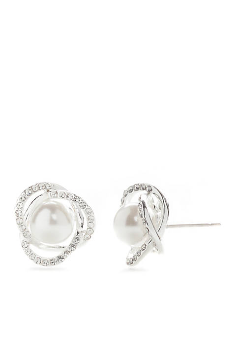 Kim Rogers® Pearl Pave Crystal Boxed Earrings