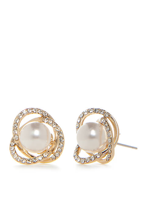 Kim Rogers® Gold-Tone Pearl Crystal Pave Swirl Earrings