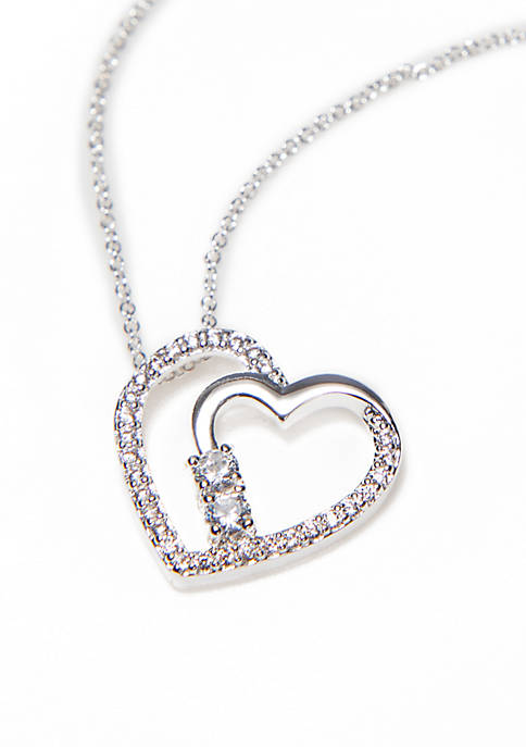 Kim Rogers® Silver-Tone Cubic Zirconia Pave Heart Necklace