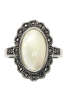 Cubic Zicronia Oval Stone Star Burst Ring