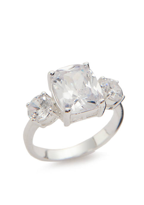 Kim Rogers® Silver-Tone Cubic Zirconia Meghan Engagement Ring