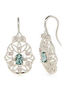 Silver-Tone Oval Filigree Aqua Drop Earrings