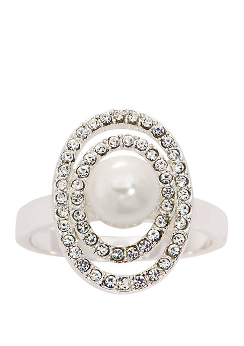 Kim Rogers® Boxed Pearl Pave Crystal Ring