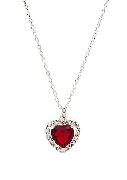 Boxed Heart Cubic Zirconia Pendant Necklace