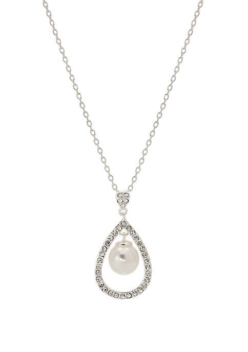 Kim Rogers® Teardrop Pendant Silver Tone Necklace